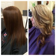 Before and after. From brown hair to blonde hair. Highlights