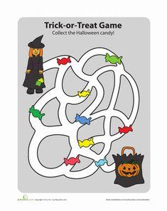 Halloween Kindergarten Mazes Worksheets: Trick-or-Treat Game
