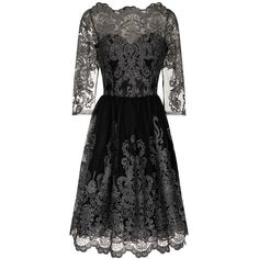 Chi Chi London Metallic lace tea dress ($100) ❤ liked on Polyvore featuring dresses, metallic, women, midi cocktail dress, lace dress, lace cocktail dress, holiday dresses and evening dresses