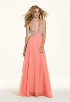 A plunging neckline is the name of the game when describing this gorgeous prom dress candidate