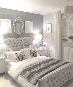 Silver bedroom decor, master bedroom grey, grey and white room, grey room d Home Bedroom, Girls Bedroom, Budget Bedroom, Master Bedrooms, Mirror Bedroom, Bedroom Sofa, Nice Bedrooms, Grey Bedroom Furniture, Gold Furniture