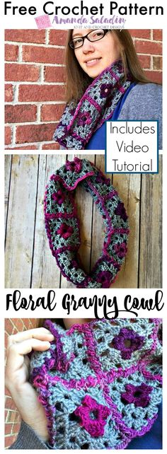Create a soft and snuggly cowl using granny square for the Floral Granny Cowl. This free pattern includes a video tutorial for creating the squares.