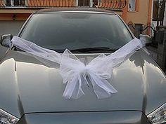Pierka - Svadobná výzdoba autá s mašľou a tylovými mašlami. - 9410909_