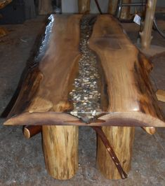 live edge table stone inlay - Google Search  Neat idea but, due to weight factor, would almost have to build it in place.