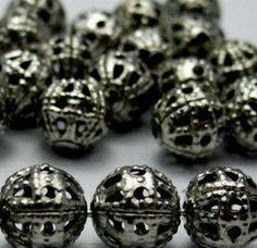30pcs Black Gunmetal Platinum Filigree 8mm round by FireSwanBeads, $1.99