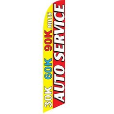 Pack of 3 Automotive Repair,30k 60k 90k Maintenance Service Now Open King Swooper Feather Flag Sign Kit with Pole and Ground Spike