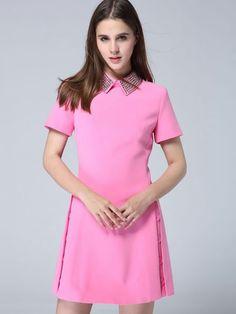 Rose Red Lapel Short Sleeve Beading Dress 47.99