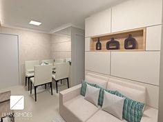 Sala de estar e jantar integradas em cores claras para ampliar o ambiente