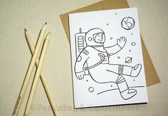 Coloring card - Astronaut by PancakesCamembert on Etsy, Paper Envelopes, Kraft Envelopes, Color Card, Astronaut, Paper Goods, Pancakes, Coloring, Greeting Cards, Etsy