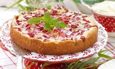 Rhubarb Cake, Rhubarb Recipes, Fika, No Bake Treats, Vegan Baking, What To Cook, Food Inspiration, Food Porn, Goodies