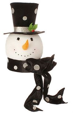 RAZ Black Snowman Head / Tree Topper