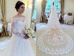 A-Line Charming 2015 Fashion Wedding Dresses Off-the-Shoulder Illusion Long Sleeve Monarch Train Applique Tulle Custom Gorgeous Bridal Gowns Online with $146.6/Piece on Weddinggirlsdress's Store | DHgate.com