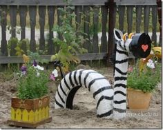 upcycled tires used to design this Zebra