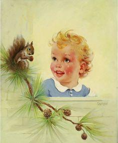 Large 20x24 canvas NEW FRIENDS Baby Toddler with Squirrel Baby   Etsy Vintage Nursery, Vintage Art, Art Deco Bathroom, Rock A Bye Baby, Earl Moran, Canvas Art, Canvas Prints, Art Deco Furniture, Mid Century Art
