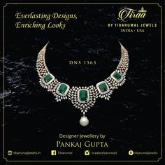 Bask in the exquisite beauty of this minutely handcrafted - studded with designed into beautiful clusters and embellished with finely chiseled and a solitary south sea at the bottom - Designer Jewellery by Pankaj Gupta Designer Jewellery, Jewellery Designs, Jewelry Patterns, Necklace Designs, Emerald Jewelry, Diamond Jewellery, Bridal Jewellery, Gold Jewelry, Bold Necklace