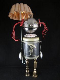 #1528 Salty Sally Bot – found object robot sculpted by Cheri Kudja.