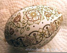 Peach WIP Ukrainian Easter Egg Pysanky By So Jeo