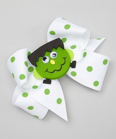 Love this Green Frankie Polka Dot Bow Clip on #zulily! #zulilyfinds