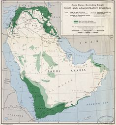 Arab states (excluding Egypt), tribes and administrative divisions, 1947