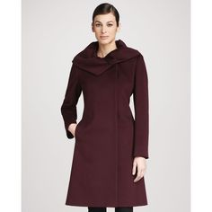 Cinzia Rocca Collar-Detail Wool Coat ($572) ❤ liked on Polyvore
