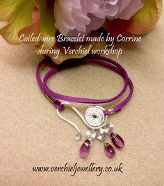 Wirework & Faux Suede Bracelet Made by Corrine during workshop at Verchiel beads and Jewellery. www.verchieljewellery.co.uk