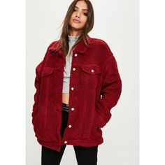 Missguided Oversized Borg Trucker Jacket (£67) ❤ liked on Polyvore featuring outerwear, jackets, red, burgundy jacket, snap jacket, trucker jacket, red jacket and missguided jackets