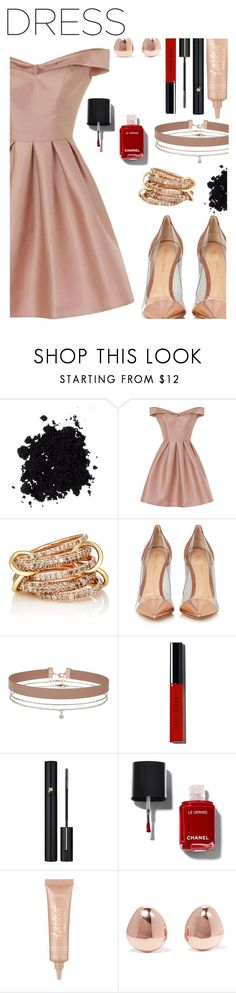 """dress"" by solonora ❤ liked on Polyvore featuring Chi Chi, SPINELLI KILCOLLIN, Gianvito Rossi, Miss Selfridge, Bobbi Brown Cosmetics, Lancôme, tarte and Monica Vinader"