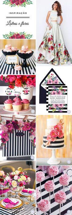 Selecionamos 8 ideias para festa de 15 anos com o tema listras e flores! O resultado final é moderno, mas também romântico e delicado!