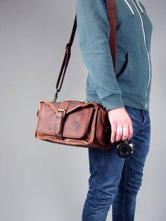 The Vagabond Camera Bag: Vintage style brown leather camera bag unisex mens by VintageChildShop on Etsy https://www.etsy.com/listing/253973338/the-vagabond-camera-bag-vintage-style