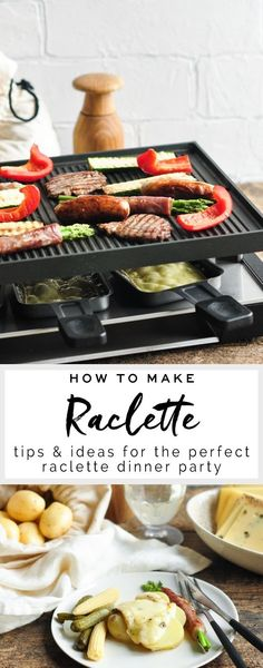 How to Make Raclette How to make raclette, a traditional Swiss dish, at home with a raclette grill. - How to Make Raclette - Tips for the Perfect Raclette Dinner Raclette Vegan, Fondue Raclette, Raclette Cheese, Raclette Party, Raclette Recipes, Fondue Party, Grilling Recipes, Cooking Recipes, Gastronomia