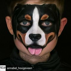 Realistic dog facepainting My very first realistic dog design, one of my exam pi. - Realistic dog facepainting My very first realistic dog design, one of my exam pieces in the Interna - Dog Makeup, Animal Makeup, Face Paint Makeup, Kids Makeup, Zombie Makeup, Scary Makeup, Puppy Face Paint, Dog Face Paints, Face Painting For Boys