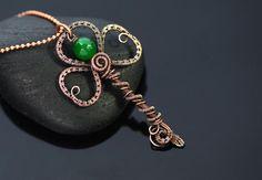 Key pendant copper wire wrapped key jewelry Irish by OrioleStudio