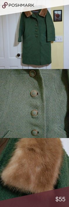 Gorgeous 60's vintage coat Blast from the past near perfect condition ladies coat with mink collar. Gorgeous Olive green with copper metal accent buttons. Fully lined and free of any stains or defects. Tiny bald spot on right arm as shown in 2nd to last pic. Can't find ones like this anymore. True beauty! I ship fast from a clean smoke free home.  Big discounts for bundles. Thanks for checking out my closet! Montgomery Ward Jackets & Coats