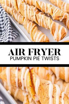 Air Fryer Pumpkin Pie Twists - This simple fall dessert is made with crescent roll dough and pumpkin pie filling. They are cute, twisty and sweet! Crescent Roll Dough, Crescent Rolls, Fall Desserts, Dessert Recipes, Twisted Recipes, Pumpkin Dessert, Pie, Twists, Breakfast