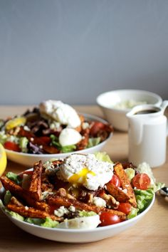 Steak and French Fry Salad with Blue Cheese Butter + Poached Eggs   halfbakedharvest.com
