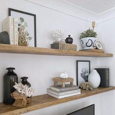 Pine Shelves, Floating Shelves Bedroom, Wooden Floating Shelves, Rustic Floating Shelves, Wood Plank Shelves, Floating Shelf Under Tv, Under Shelf Lighting, Rustic Wall Shelves, Dining Room Shelves