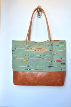 Arrows on Mint Canvas and Leather Tote Bag by BlissfulThingsbyLani