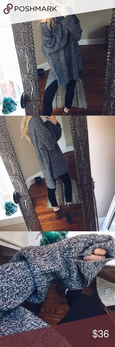 Hazey Willow Chunky Pullover Marled grey black + white Marled Pullover sweater. Crew neck that can be worn off the shoulder very easily! Feminine + Slouchy. Soft material that's on the lighter side Sweaters Crew & Scoop Necks
