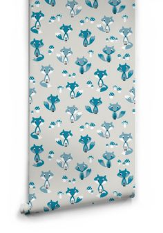 Garden Foxes Wallpaper in Blue by Muffin & Mani for Milton & King