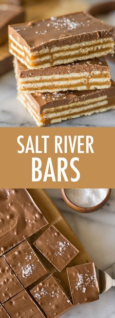 These Salt River Bars are sweet salty chewy creamy crunchy chocolatey PERFECTION! Everyone who tries them LOVES them! Diy Dessert, Smores Dessert, Dessert Bars, Candy Recipes, Sweet Recipes, Baking Recipes, Cookie Recipes, Bar Recipes, Recipies