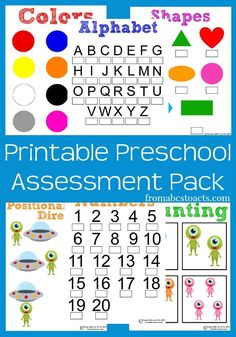 Whether you're working on some after school activities or are doing preschool at home, you can track your child's progress through the year with this fun printable preschool assessment pack! Preschool At Home, Free Preschool, Preschool Curriculum, Preschool Printables, Preschool Lessons, Preschool Kindergarten, Preschool Worksheets, Preschool Learning, Preschool Activities