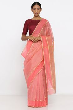 e47f945244 Light Pink Handloom Pure Silk-Tissue Chanderi Saree with Checked Zari Pallu