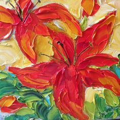 Original Oil Painting Red Lilies Garden by IronsideImpastos Lily Garden, Red Lily, Cool Artwork, Amazing Artwork, Flower Paintings, Painting Flowers, Oil Paintings, Art Journal Inspiration, Texture Painting