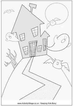 Halloween Haunted House Coloring PagesHalloween Pages Are Great To Print And Color For Spooky Decorations A Fun Activity
