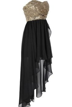 Backless Black Homecoming Gown, Princess Sequin Dance Prom Dresses ,High-Low Evening Dress For Teens - Thumbnail 1