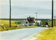 'strada principale', acquerello di Edward Hopper (1882-1967, United States)