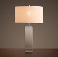 square glass base table lamp (restoration hardware)