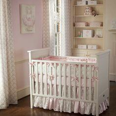 Pink and Taupe Damask Crib Bedding | Girl Crib Bedding in Light Pink and Brown Damask | Carousel Designs #nursery #baby