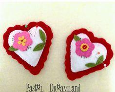 (1) Alfileteros de fieltro en forma de corazón, un... - Pastel Dreamland