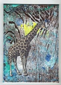 A small wall hanging.  Gelli print background on canvas  board using acrylic paints.  Image is by Lunagirl.